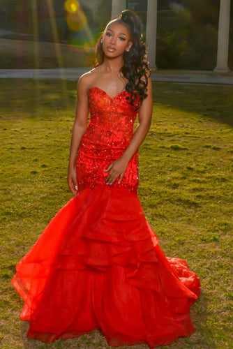 Beaded Organza Strapless Sweetheart Tiered Ruffle Prom Dress With Ribbon