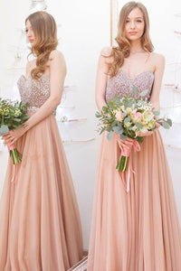 Beaded Strapless Sweetheart Floor-Length Pleated Chiffon Bridesmaid Dress