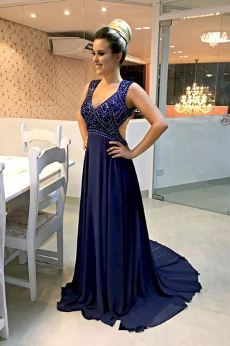 Beading Plunging Neck Sleeveless Open Back Long Solid Chiffon Evening Dress with Sweep Train