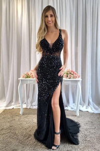 Beading Rhinestone Illusion Plunging Neck Sleeveless Open Back Long Slit Evening Dress