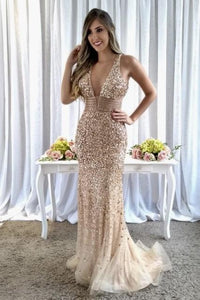 Luxury Beading Rhinestone Plunging Neck Sleeveless Long Fit-And-Flare Evening Dress