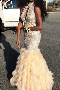Beaded Sleeveless High Neck Floor-Length Mermaid Prom Dress With Feather Skirt