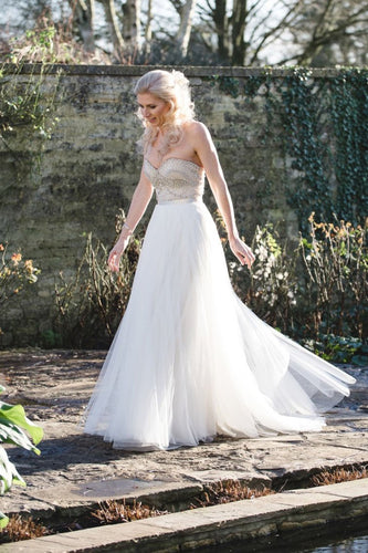 Beaded Strapless Sweetheart Floor-Length Tulle Bridal Dress