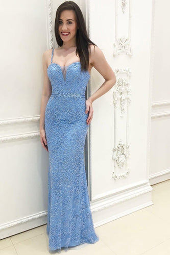 Beaded Sweetheart Strap Floor-Length Bodycon Formal Dress With Belt