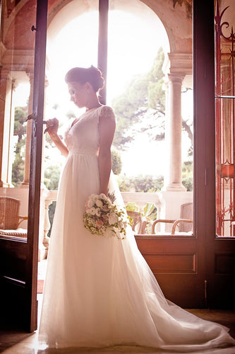 Beaded V-Neck Cap Sleeve A-Line Wedding Dress With Lace
