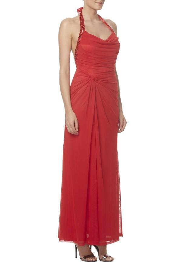 Red Chiffon Halter Backless Ankle Length Chiffon Sheath Bridesmaid Dress With Beads