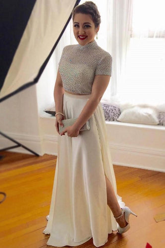 beading-high-neck-short-sleeve-two-piece-long-slit-sheath-prom-dresses