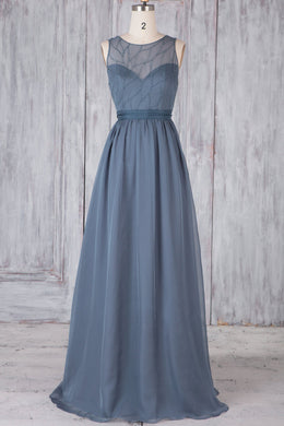 Beaded Jewel Neck Brush Train Illusion Chiffon Bridesmaid Dress