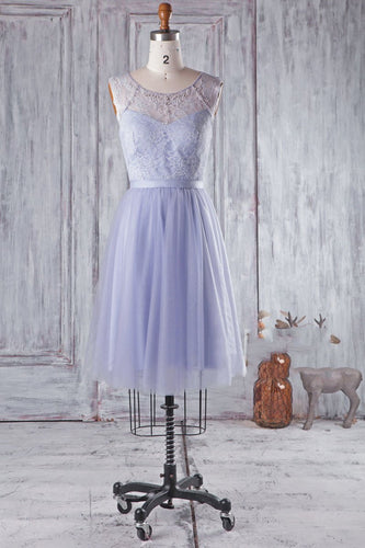 Beaded Jewel Neck A-Line Short Bridesmaid Dress With Lace