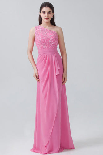 Fuchsia Chiffon One-Shoulder Floor-Length Sheathe Bridesmaid Dress With Beads