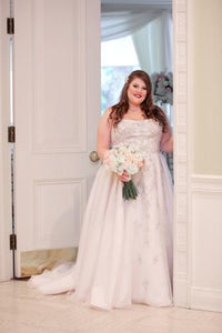 Beading Lace Strapless Sleeveless Plus Size Long Solid Wedding Dress with Court Train