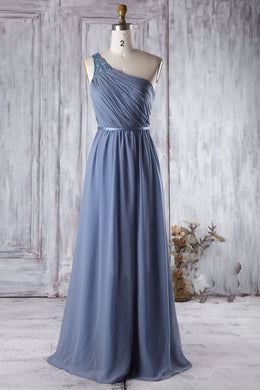 Beaded One-Shoulder Sleeveless Long Solid Ruched Chiffon Bridesmaid Dress