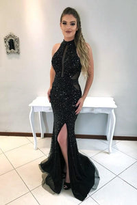Beading Rhinestone Illusion High Neck Sleeveless Zip-Up Long Solid Mermaid Evening Dress