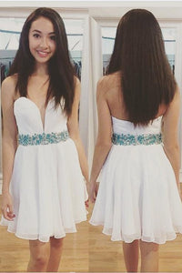 Cute Beading Rhinestone Sweetheart Sleeveless Zipper-Up Short Chiffon Cocktail Dress