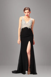 Beading Rhinestone V-Neck Sleeveless Backless Fit-And-Flare Slit Chiffon Evening Dress
