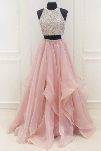 Beading Scoop Neck Sleeveless Two Piece Long Organza Princess Evening Dresses
