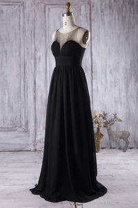 Ruched Jewel Neck Brush Train Black Chiffon Bridesmaid Dress With Beads