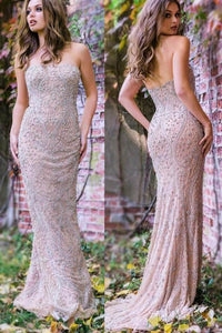 Beading Strapless Sleeveless Zipper-Up Long Solid Sheath Evening Dress with Sweep Train