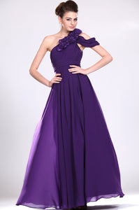 Handmade Flower One Shoulder Zipper-Up Ankle-Length Ruched Chiffon Evening Dress
