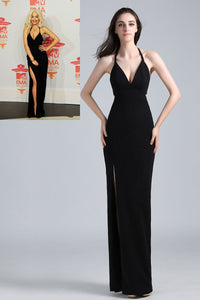 Black Halter Backless Floor-Length Sheath Celebrity Dress With High Split