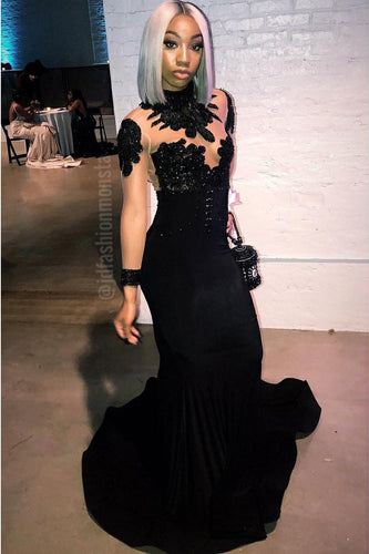 Black Jersey High Neck Long Sleeve Illusion Mermaid Prom Dress With Lace & Sequins