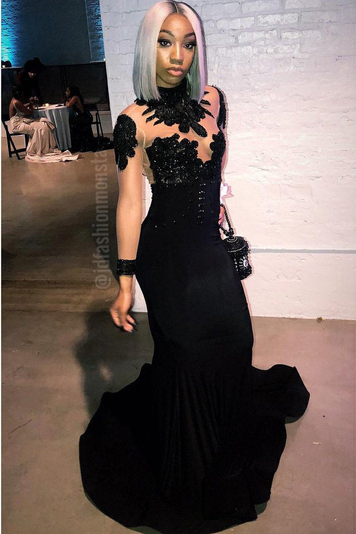 dedd8bb8038 Black Jersey High Neck Long Sleeve Illusion Mermaid Prom Dress With Lace    Sequins