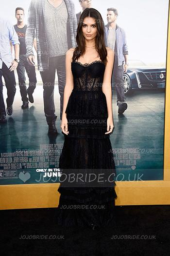 Black Lace Sweetheart Strapless Floor-Length Celebrity Dress With Layers