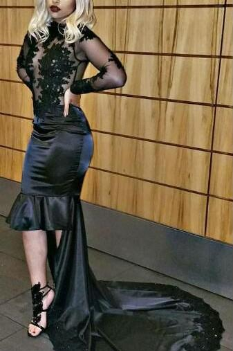 a963e739bf835 Black Long Sleeve High Neck High-Low Illusion Prom Dress Lace Applique