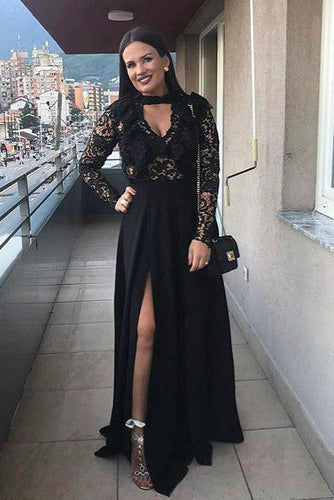 Black Long Sleeve V-Neck Split Chiffon Formal Dress With Sheer Lace Bodice