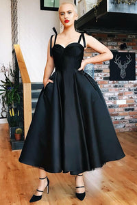 Black Satin Sweetheart Strap Tea-Length Formal Dress With Pockets