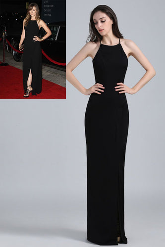 Black Spaghetti Strap Lace-Up Back Floor-Length Sheath Celebrity Dress
