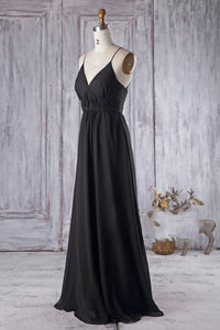 Spaghetti Strap V-Neck Black Chiffon Bridesmaid Dress With Sweep Train