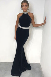 Black Velvet Halter Long Formal Dress With Crystal