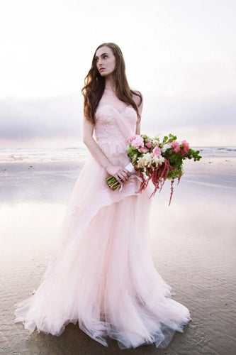 Blushing Pink Tulle Backless Sweetheart Strapless Layered Beach Wedding Dress With Lace Bodice