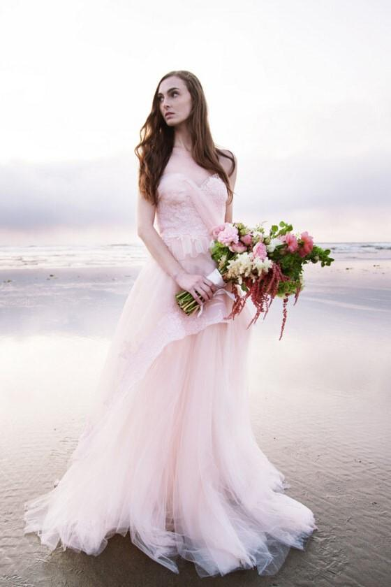 9e1eda1f242 Blushing Pink Tulle Backless Sweetheart Strapless Layered Beach Wedding  Dress With Lace Bodice