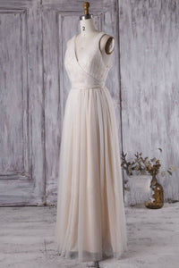 Tulle V-Neck Full-Length Bridesmaid Dress With Lace & Sash