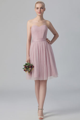 Sweetheart Strapless Zipper-Up Short Ruched Tulle Bridesmaid Dress With Sash