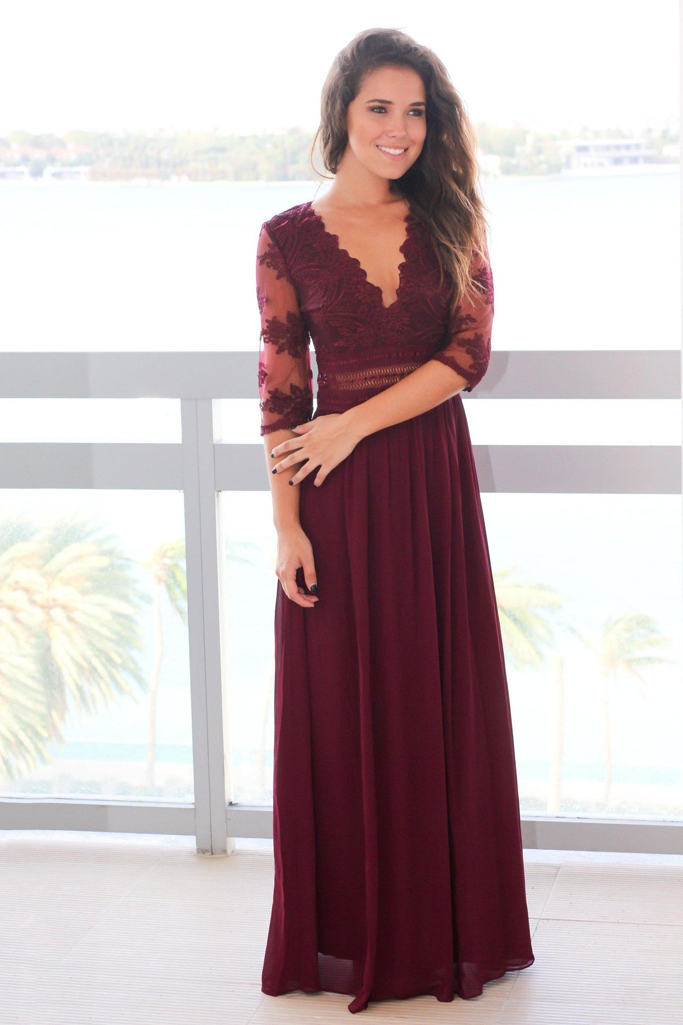 be6b4c5c9a26 Burgundy Chiffon V-Neck 1/2 Sleeve Formal Evening Dress With Illusion Lace  Bodice