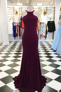 Burgundy Jersey Open Back Jewel Neck Mermaid Formal Dress With Sweep Train