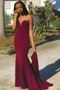 Burgundy Jersey Strapless Sweetheart Mermaid Formal Dress With Sweep Train