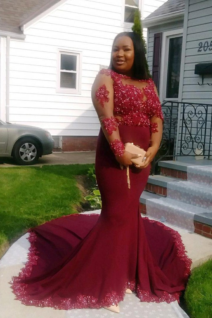 ce56eba697c Burgundy Jewel Neck Long Sleeve Plus Size Court Train Illusion Prom Dress  With Sequinned Lace Applique