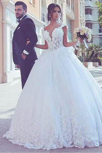 Princess V-Neck Cap Sleeve Ball Gown Wedding Dress With Stunning Lace Applique