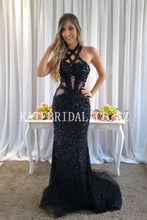 Beading Rhinestone Jewel Neck Sleeveless Open Back Long Mermaid Evening Dress