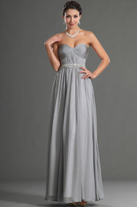 Beading Sweetheart Sleeveless Zipper-Up Ankle-Length Solid Ruched Chiffon Evening Dress