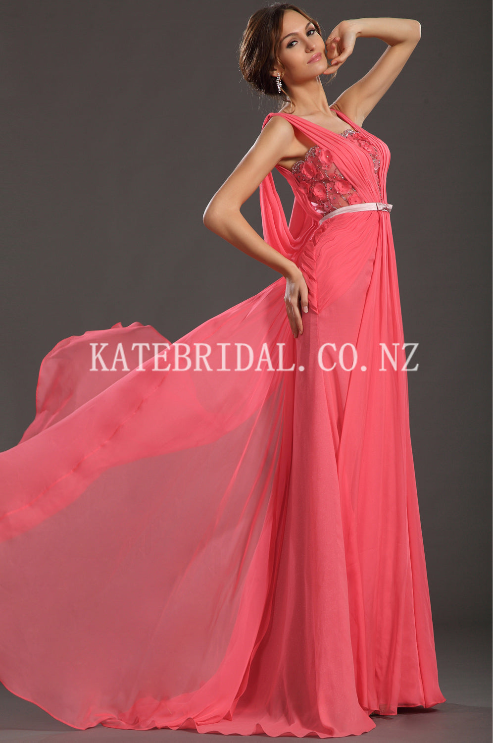 Beading Floral Straps Sleeveless Long Solid Ruched Chiffon Evening Dress with Sweep Train