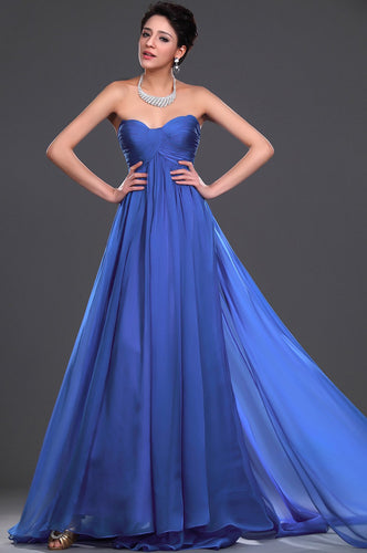 Royal Blue Sweetheart Sleeveless Empire Long Solid Ruched Chiffon Evening Dress