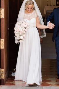 Cap Sleeve Chiffon Sweep Train Wedding Dress With Beads