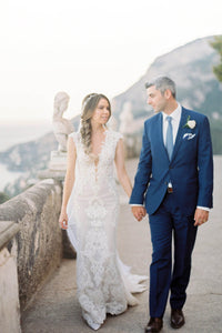Cap Sleeve Plunging V-Neck Lace Mermaid Bridal Dress With Pearls