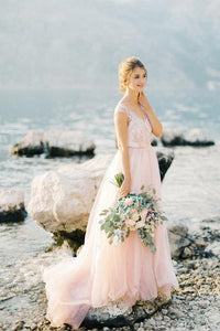 Cap Sleeve V-Neck Tulle Sweep Train Bridal Dress With Lace Bodice