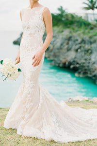 Champagne Bateau Open Back Lace Mermaid Wedding Dress With Court Train